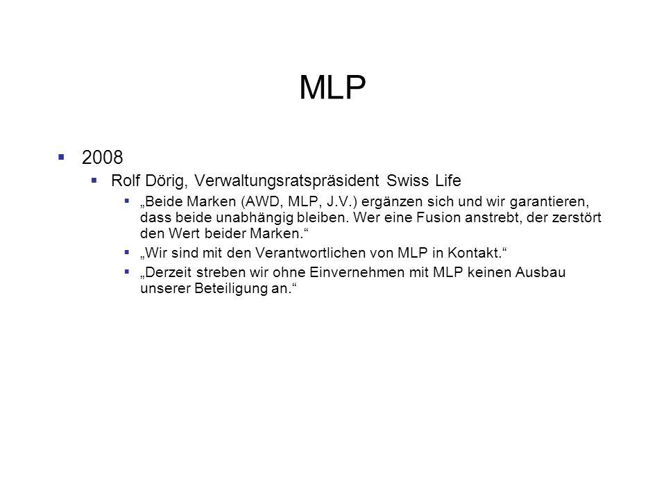 MLP 2008 Rolf Dörig, Verwaltungsratspräsident Swiss Life Beide Marken (AWD, MLP, J.V.) ergänzen sich und wir garantieren, dass beide unabhängig bleibe