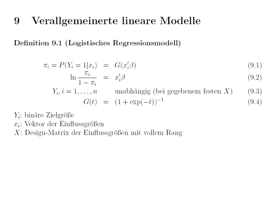 Ergebnis logistische Regression glm(formula = y ~ x, family = binomial) Coefficients: Estimate Std z value Pr(>|z|) (Intercept) 0.05597 0.21086 0.265 0.7907 x 0.68425 0.23640 2.894 0.0038 ** --- Null deviance: 138.27 on 99 degrees of freedom Residual deviance: 128.88 on 98 degrees of freedom AIC: 132.88