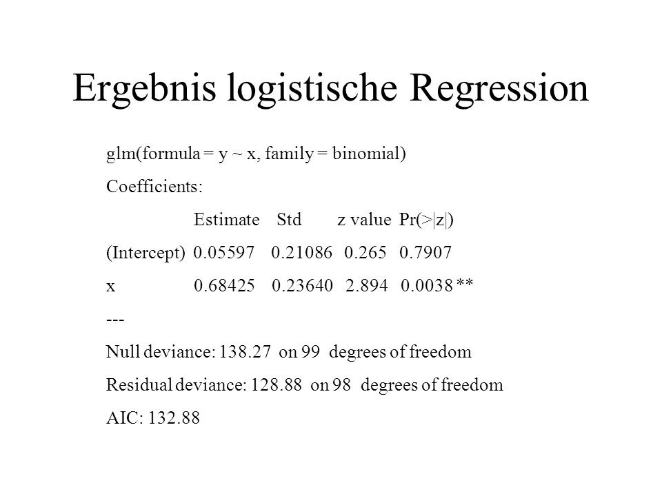 Ergebnis logistische Regression glm(formula = y ~ x, family = binomial) Coefficients: Estimate Std z value Pr(>|z|) (Intercept) 0.05597 0.21086 0.265