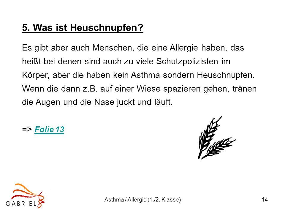 Asthma / Allergie (1./2. Klasse)14 5. Was ist Heuschnupfen? Es gibt aber auch Menschen, die eine Allergie haben, das heißt bei denen sind auch zu viel