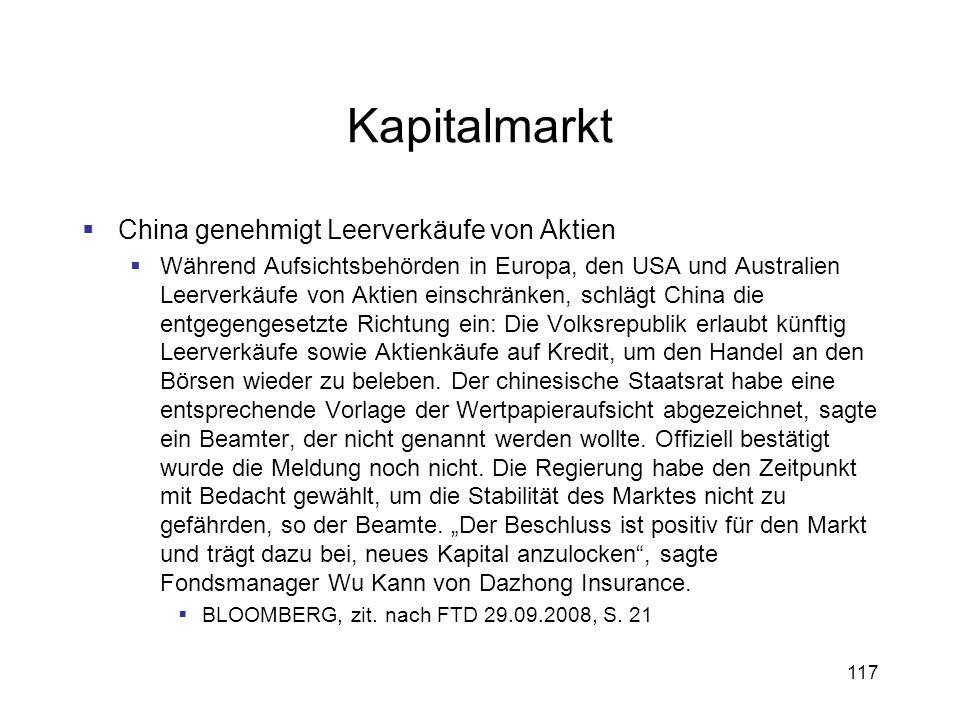 117 Kapitalmarkt China genehmigt Leerverkäufe von Aktien Während Aufsichtsbehörden in Europa, den USA und Australien Leerverkäufe von Aktien einschrän