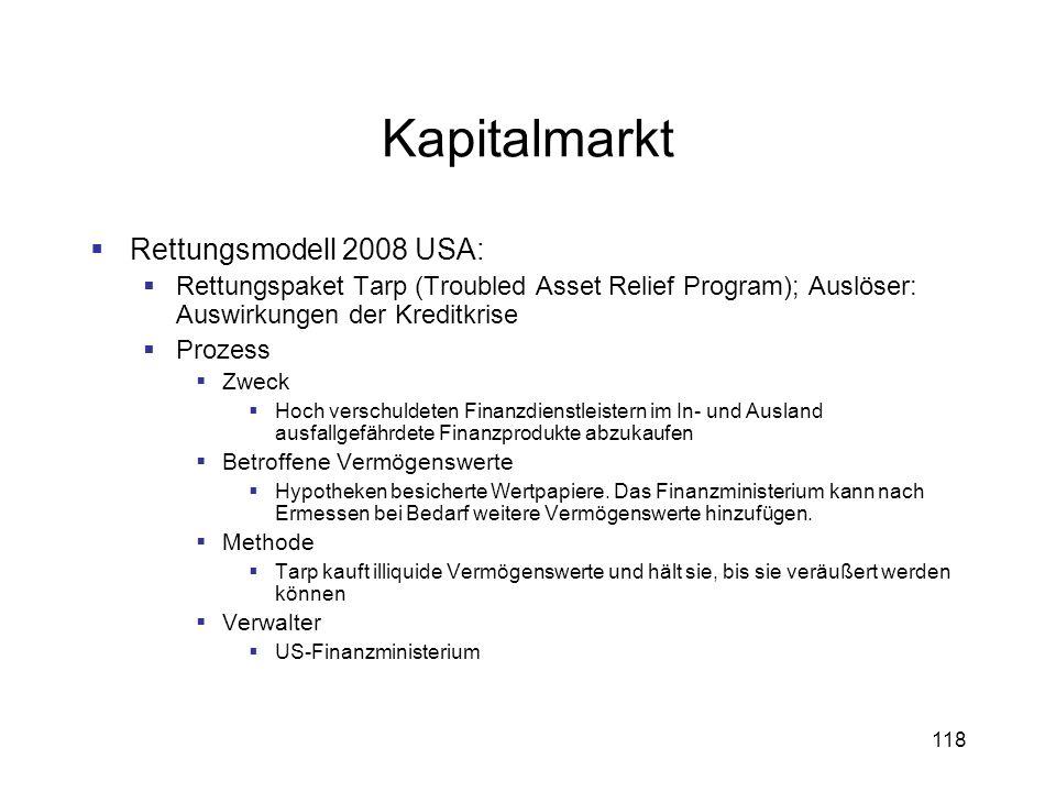 118 Kapitalmarkt Rettungsmodell 2008 USA: Rettungspaket Tarp (Troubled Asset Relief Program); Auslöser: Auswirkungen der Kreditkrise Prozess Zweck Hoc