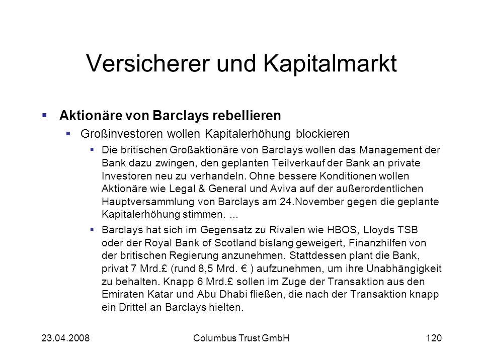 Versicherer und Kapitalmarkt Aktionäre von Barclays rebellieren Großinvestoren wollen Kapitalerhöhung blockieren Die britischen Großaktionäre von Barc