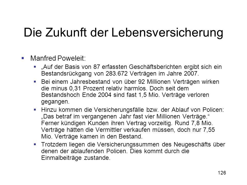 126 Die Zukunft der Lebensversicherung Manfred Poweleit: Auf der Basis von 87 erfassten Geschäftsberichten ergibt sich ein Bestandsrückgang von 283.67