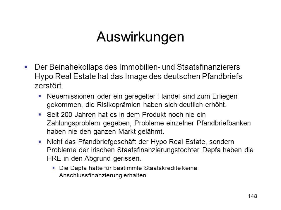 148 Auswirkungen Der Beinahekollaps des Immobilien- und Staatsfinanzierers Hypo Real Estate hat das Image des deutschen Pfandbriefs zerstört. Neuemiss