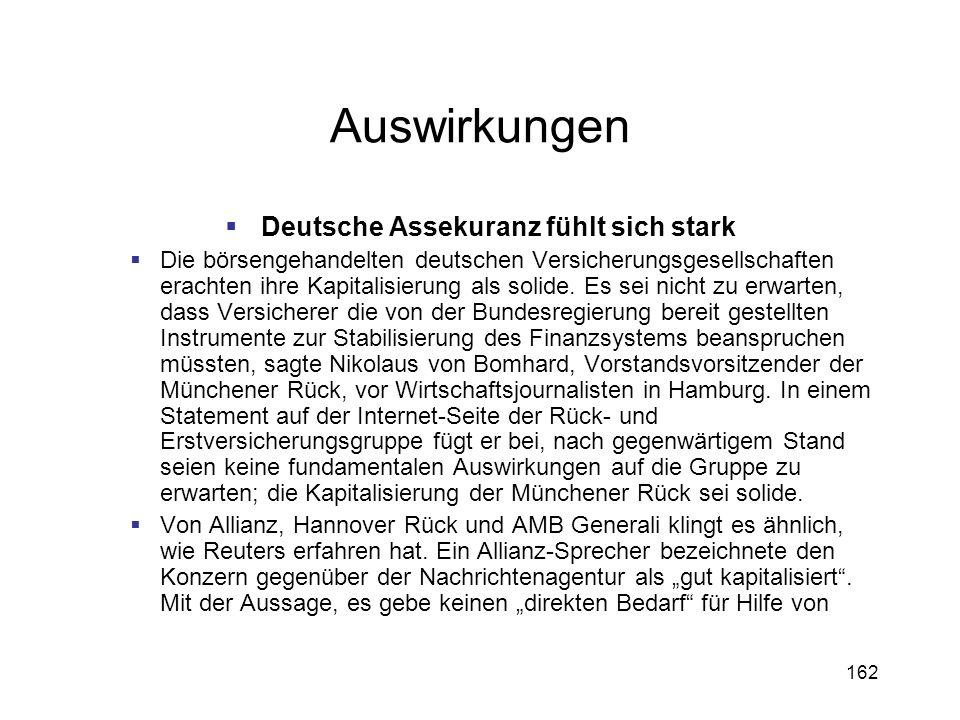 162 Auswirkungen Deutsche Assekuranz fühlt sich stark Die börsengehandelten deutschen Versicherungsgesellschaften erachten ihre Kapitalisierung als so