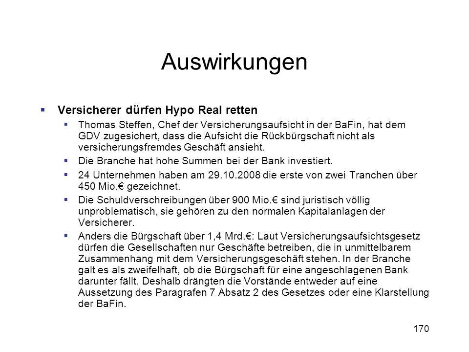 170 Auswirkungen Versicherer dürfen Hypo Real retten Thomas Steffen, Chef der Versicherungsaufsicht in der BaFin, hat dem GDV zugesichert, dass die Au