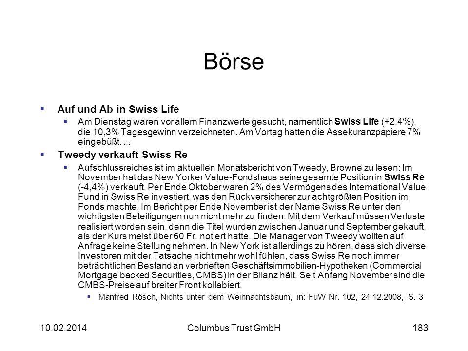 Börse Auf und Ab in Swiss Life Am Dienstag waren vor allem Finanzwerte gesucht, namentlich Swiss Life (+2,4%), die 10,3% Tagesgewinn verzeichneten. Am