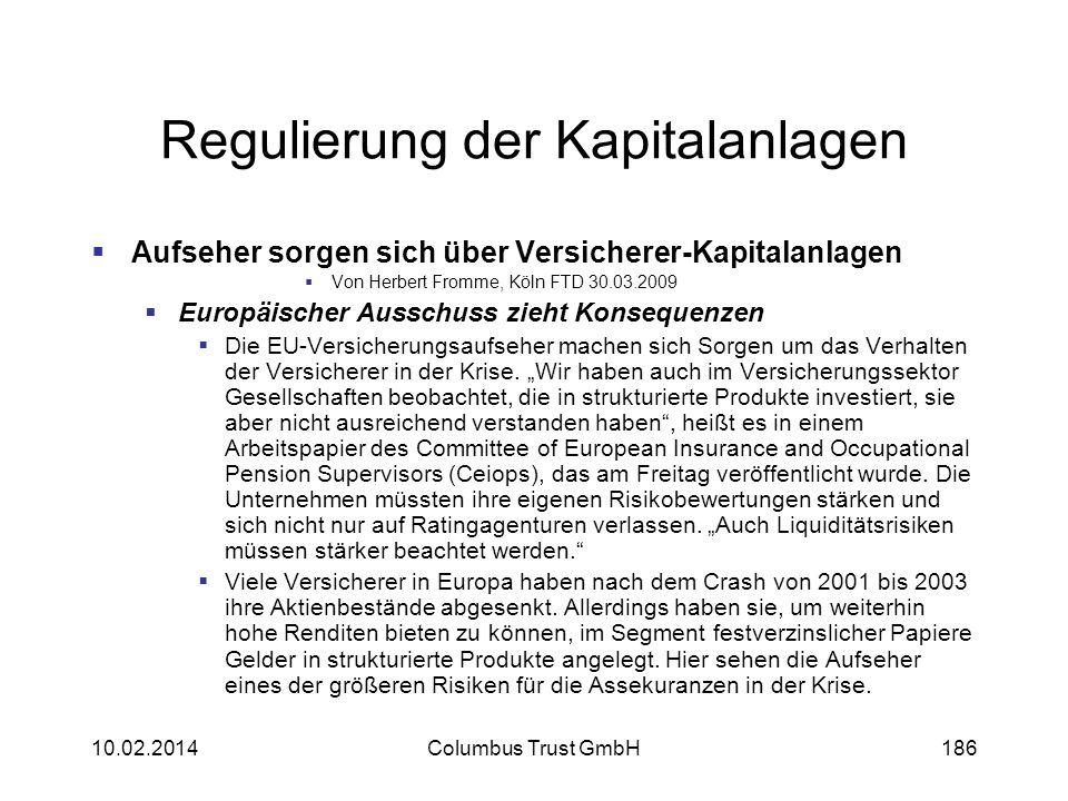 Regulierung der Kapitalanlagen Aufseher sorgen sich über Versicherer-Kapitalanlagen Von Herbert Fromme, Köln FTD 30.03.2009 Europäischer Ausschuss zie