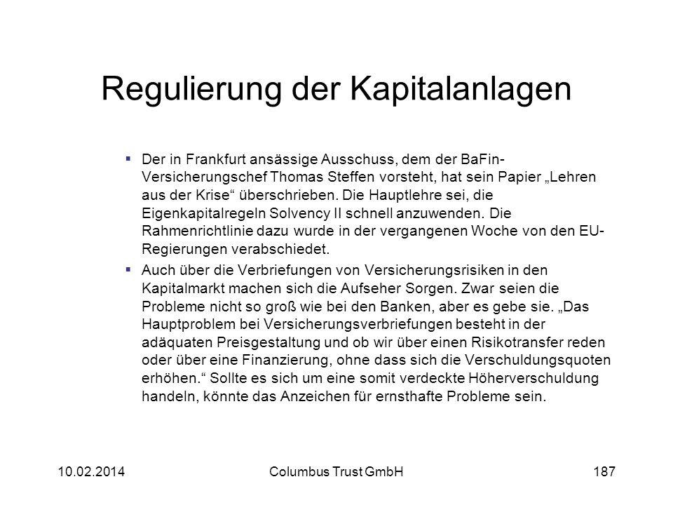 Regulierung der Kapitalanlagen Der in Frankfurt ansässige Ausschuss, dem der BaFin- Versicherungschef Thomas Steffen vorsteht, hat sein Papier Lehren