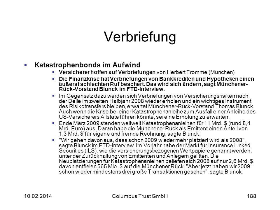 Verbriefung Katastrophenbonds im Aufwind Versicherer hoffen auf Verbriefungen von Herbert Fromme (München) Die Finanzkrise hat Verbriefungen von Bankk