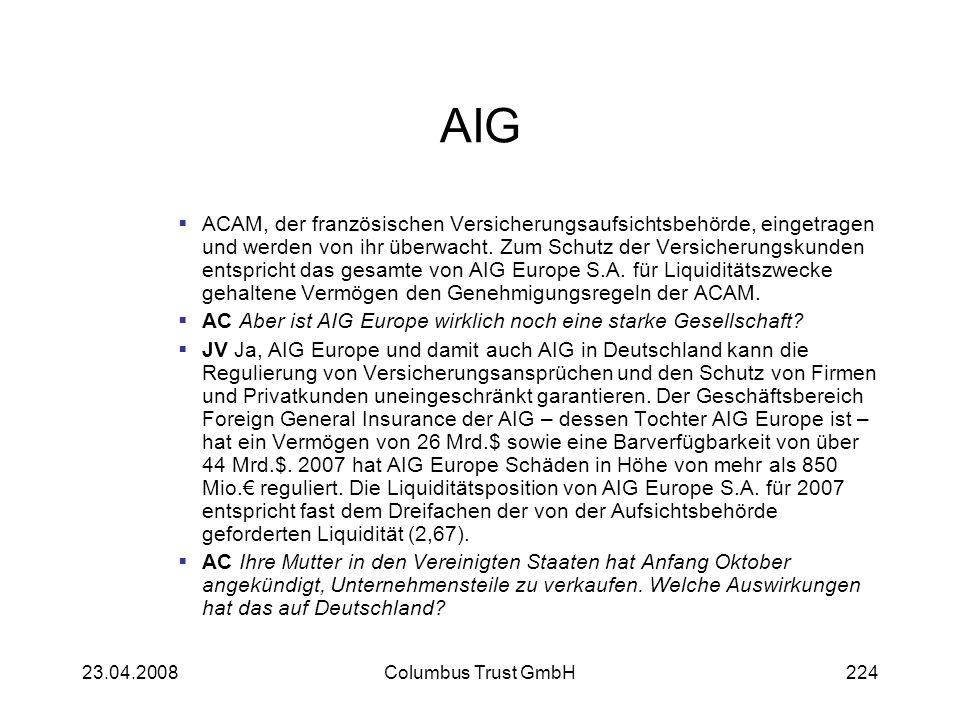 AIG ACAM, der französischen Versicherungsaufsichtsbehörde, eingetragen und werden von ihr überwacht. Zum Schutz der Versicherungskunden entspricht das