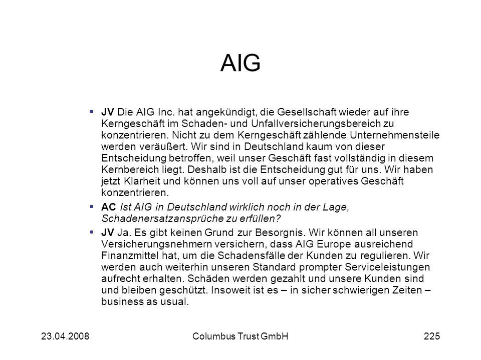 AIG JV Die AIG Inc. hat angekündigt, die Gesellschaft wieder auf ihre Kerngeschäft im Schaden- und Unfallversicherungsbereich zu konzentrieren. Nicht