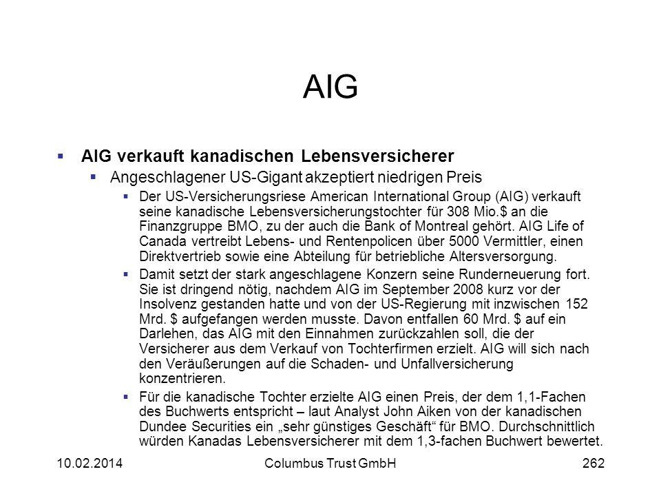 AIG AIG verkauft kanadischen Lebensversicherer Angeschlagener US-Gigant akzeptiert niedrigen Preis Der US-Versicherungsriese American International Gr