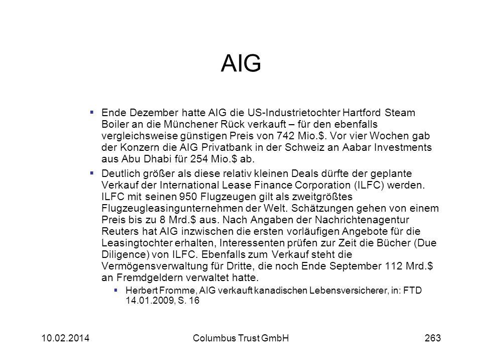 AIG Ende Dezember hatte AIG die US-Industrietochter Hartford Steam Boiler an die Münchener Rück verkauft – für den ebenfalls vergleichsweise günstigen