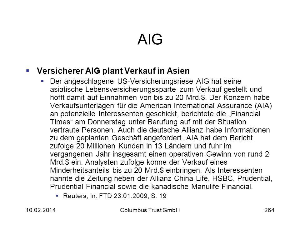 AIG Versicherer AIG plant Verkauf in Asien Der angeschlagene US-Versicherungsriese AIG hat seine asiatische Lebensversicherungssparte zum Verkauf gest
