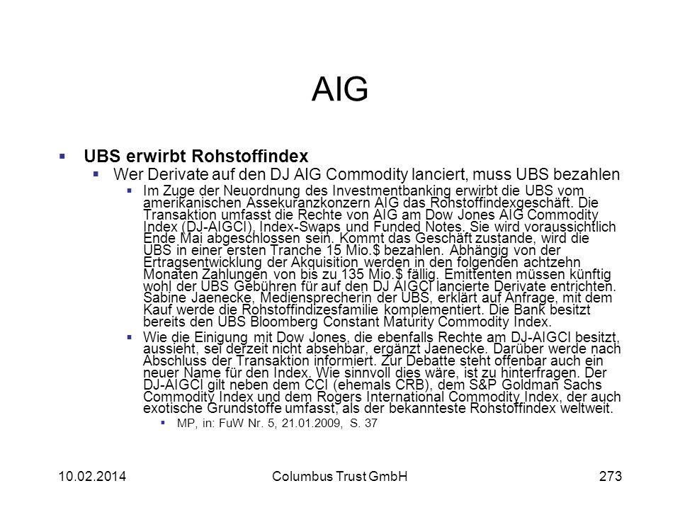 AIG UBS erwirbt Rohstoffindex Wer Derivate auf den DJ AIG Commodity lanciert, muss UBS bezahlen Im Zuge der Neuordnung des Investmentbanking erwirbt d