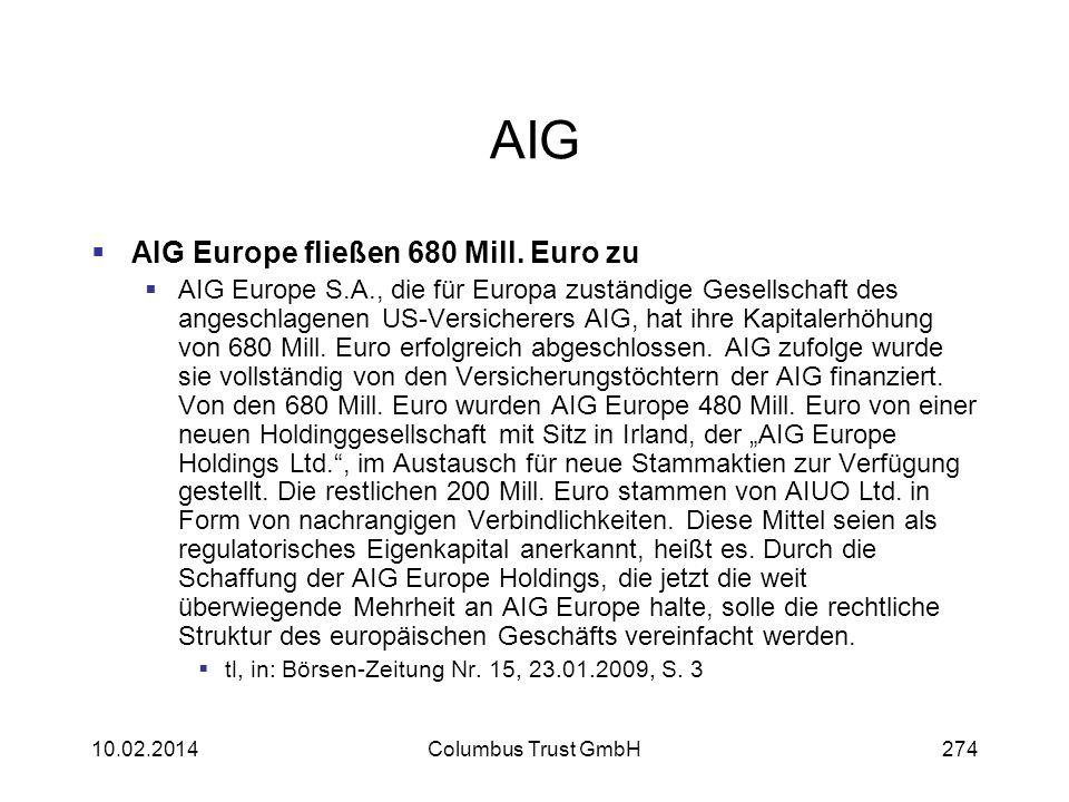 AIG AIG Europe fließen 680 Mill. Euro zu AIG Europe S.A., die für Europa zuständige Gesellschaft des angeschlagenen US-Versicherers AIG, hat ihre Kapi