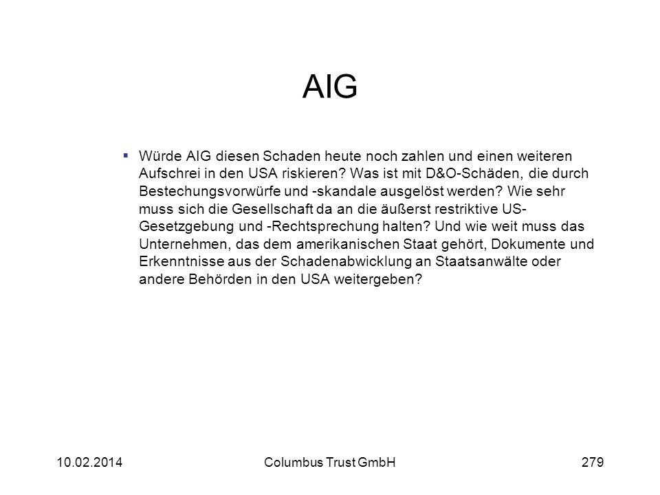 AIG Würde AIG diesen Schaden heute noch zahlen und einen weiteren Aufschrei in den USA riskieren? Was ist mit D&O-Schäden, die durch Bestechungsvorwür
