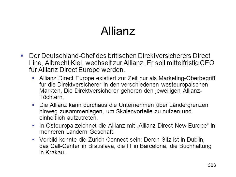 306 Allianz Der Deutschland-Chef des britischen Direktversicherers Direct Line, Albrecht Kiel, wechselt zur Allianz. Er soll mittelfristig CEO für All