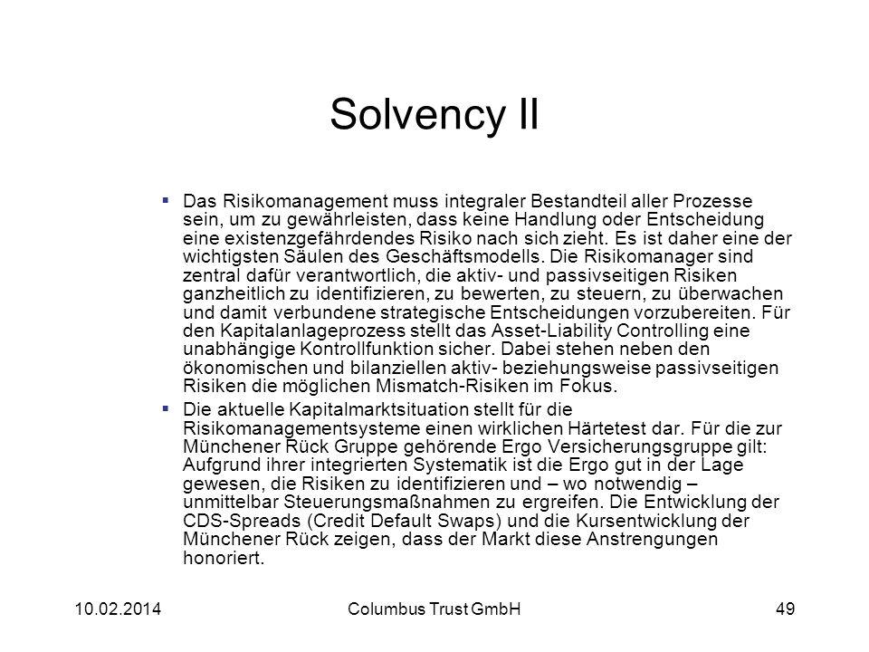 Solvency II Das Risikomanagement muss integraler Bestandteil aller Prozesse sein, um zu gewährleisten, dass keine Handlung oder Entscheidung eine exis