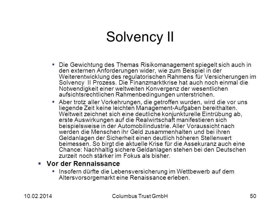 Solvency II Die Gewichtung des Themas Risikomanagement spiegelt sich auch in den externen Anforderungen wider, wie zum Beispiel in der Weiterentwicklu