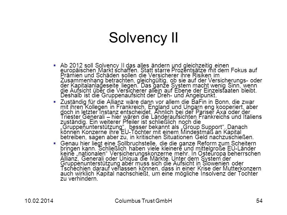 Solvency II Ab 2012 soll Solvency II das alles ändern und gleichzeitig einen europäischen Markt schaffen. Statt starre Prozentsätze mit dem Fokus auf