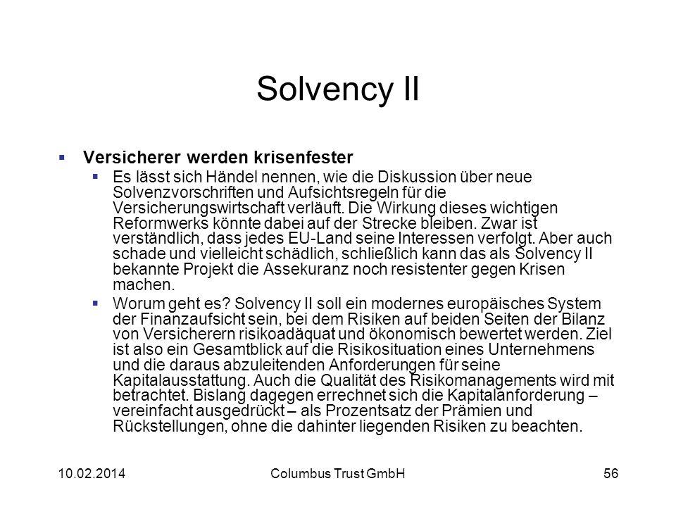 Solvency II Versicherer werden krisenfester Es lässt sich Händel nennen, wie die Diskussion über neue Solvenzvorschriften und Aufsichtsregeln für die