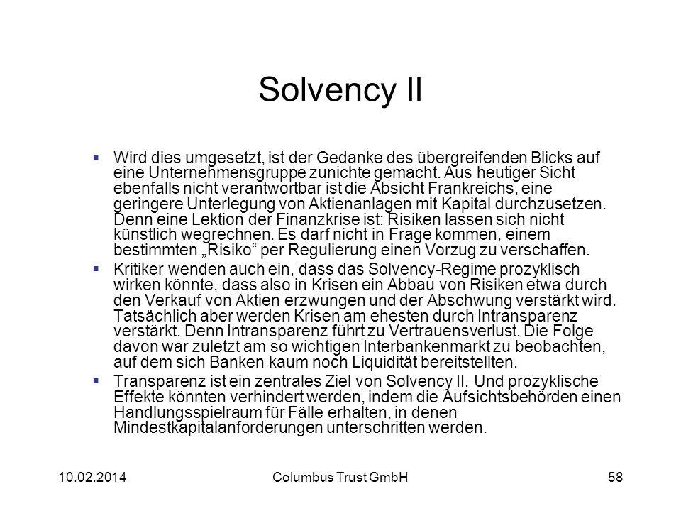 Solvency II Wird dies umgesetzt, ist der Gedanke des übergreifenden Blicks auf eine Unternehmensgruppe zunichte gemacht. Aus heutiger Sicht ebenfalls