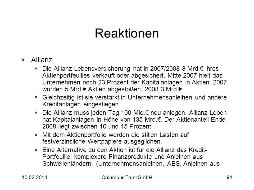 91 Reaktionen Allianz Die Allianz Lebensversicherung hat in 2007/2008 8 Mrd. ihres Aktienportfeuilles verkauft oder abgesichert. Mitte 2007 hielt das
