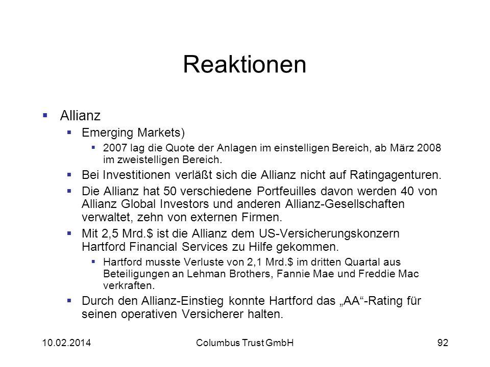 92 Reaktionen Allianz Emerging Markets) 2007 lag die Quote der Anlagen im einstelligen Bereich, ab März 2008 im zweistelligen Bereich. Bei Investition