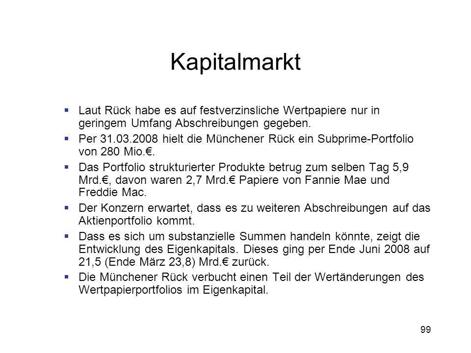 99 Kapitalmarkt Laut Rück habe es auf festverzinsliche Wertpapiere nur in geringem Umfang Abschreibungen gegeben. Per 31.03.2008 hielt die Münchener R