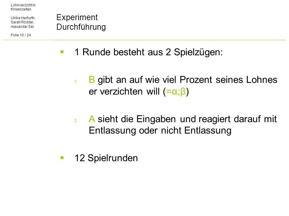 Lohnverzicht in Krisenzeiten Ulrike Herfurth, Sarah Rödder, Alexander Sel Folie 10 / 24 Experiment Durchführung 1 Runde besteht aus 2 Spielzügen: 1.
