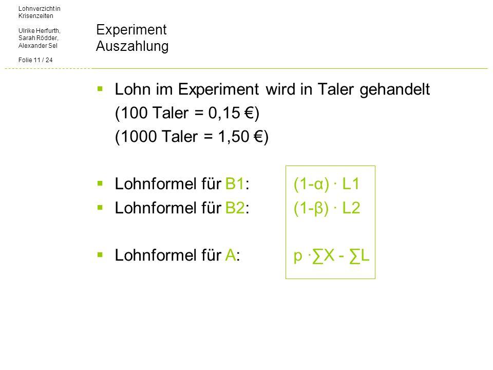 Lohnverzicht in Krisenzeiten Ulrike Herfurth, Sarah Rödder, Alexander Sel Folie 11 / 24 Experiment Auszahlung Lohn im Experiment wird in Taler gehandelt (100 Taler = 0,15 ) (1000 Taler = 1,50 ) Lohnformel für B1: (1-α) L1 Lohnformel für B2: (1-β) L2 Lohnformel für A: p X - L