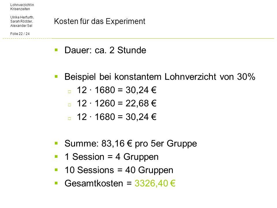 Lohnverzicht in Krisenzeiten Ulrike Herfurth, Sarah Rödder, Alexander Sel Folie 22 / 24 Kosten für das Experiment Dauer: ca.