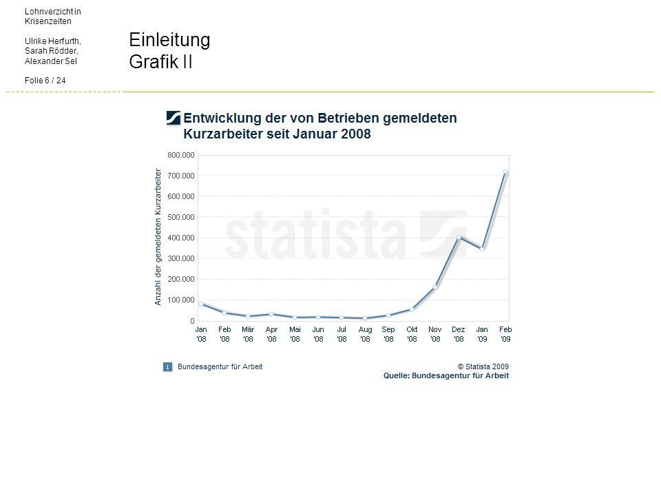 Lohnverzicht in Krisenzeiten Ulrike Herfurth, Sarah Rödder, Alexander Sel Folie 6 / 24 Einleitung Grafik II