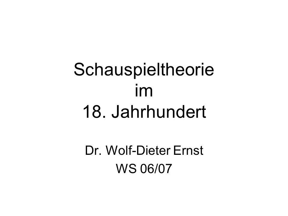 Schauspieltheorie im 18. Jahrhundert Dr. Wolf-Dieter Ernst WS 06/07