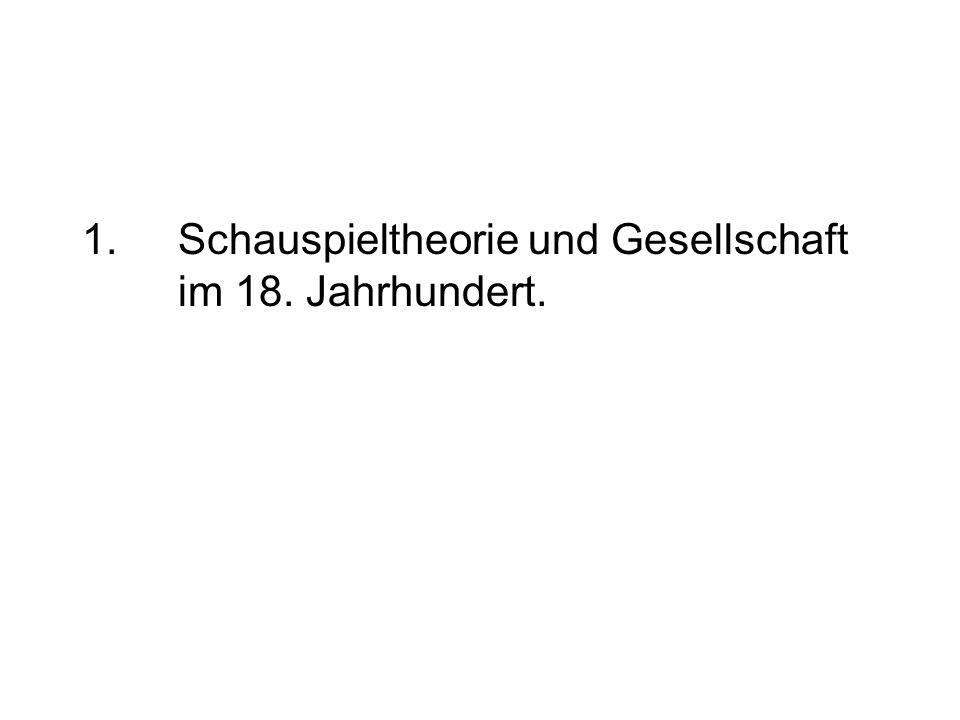 1.Schauspieltheorie und Gesellschaft im 18. Jahrhundert.