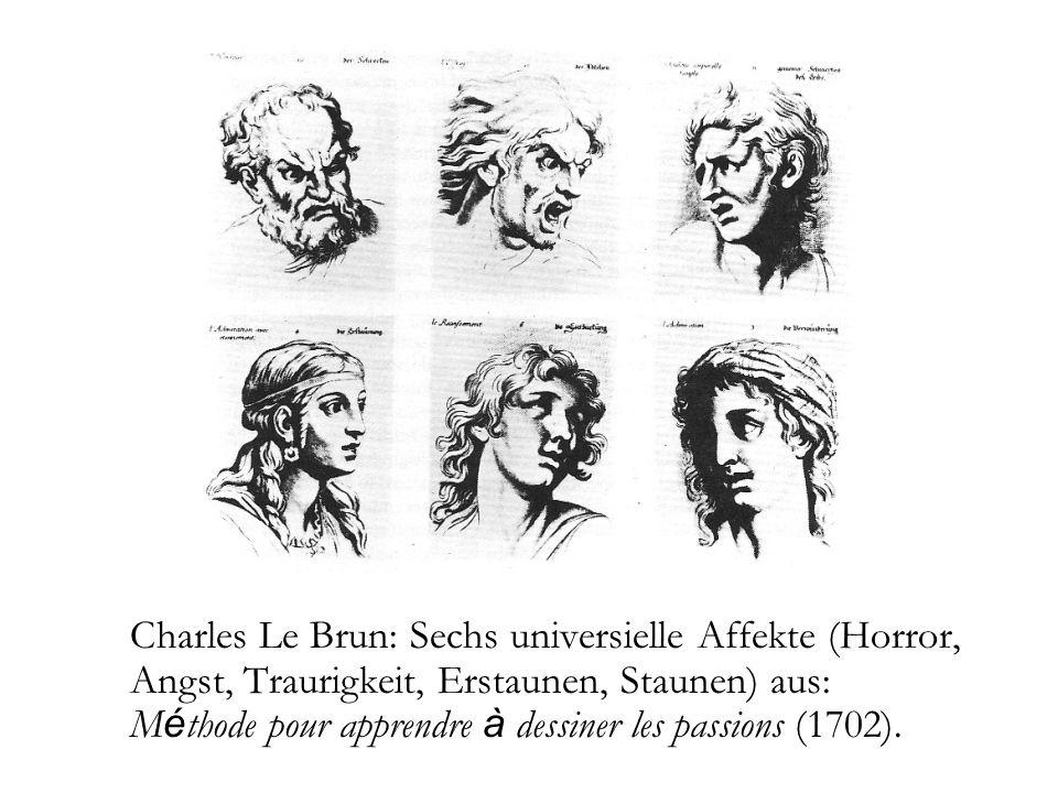 Charles Le Brun: Sechs universielle Affekte (Horror, Angst, Traurigkeit, Erstaunen, Staunen) aus: M é thode pour apprendre à dessiner les passions (17