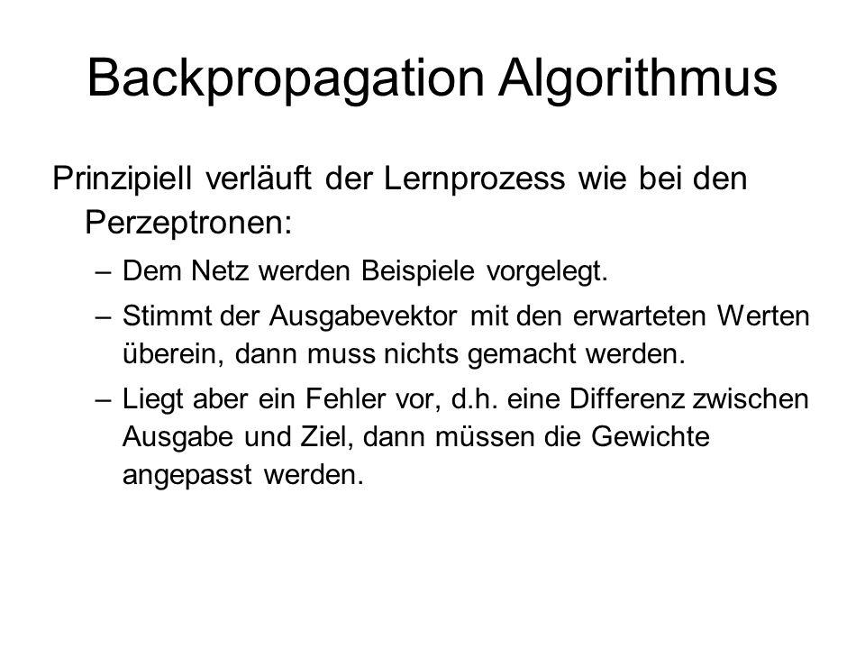 Backpropagation Algorithmus Prinzipiell verläuft der Lernprozess wie bei den Perzeptronen: –Dem Netz werden Beispiele vorgelegt. –Stimmt der Ausgabeve