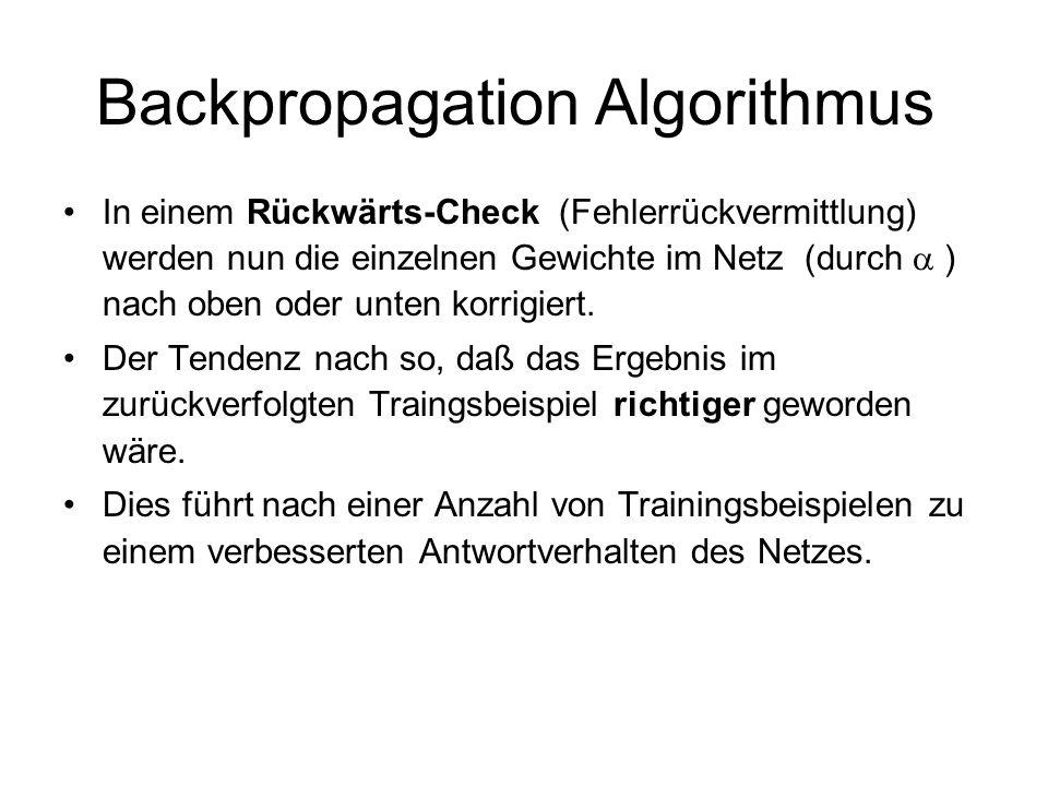 Backpropagation Algorithmus In einem Rückwärts-Check (Fehlerrückvermittlung) werden nun die einzelnen Gewichte im Netz (durch ) nach oben oder unten k