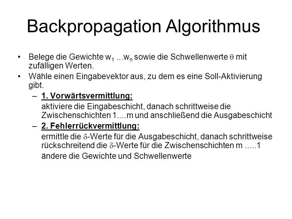 Backpropagation Algorithmus Belege die Gewichte w 1...w n sowie die Schwellenwerte mit zufälligen Werten. Wähle einen Eingabevektor aus, zu dem es ein
