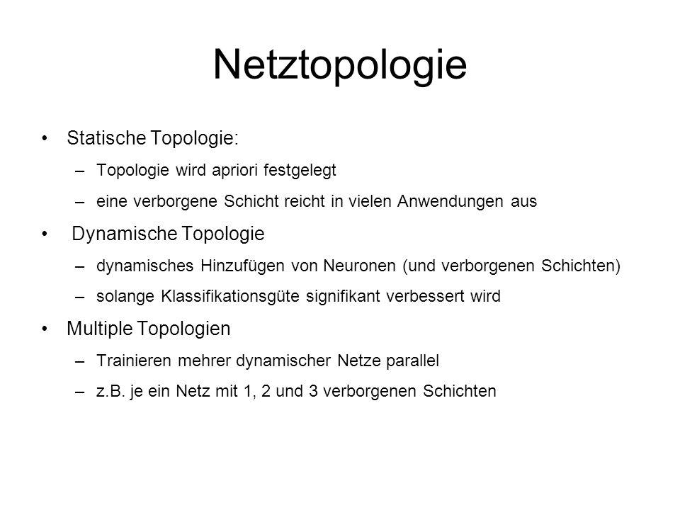 Netztopologie Statische Topologie: –Topologie wird apriori festgelegt –eine verborgene Schicht reicht in vielen Anwendungen aus Dynamische Topologie –