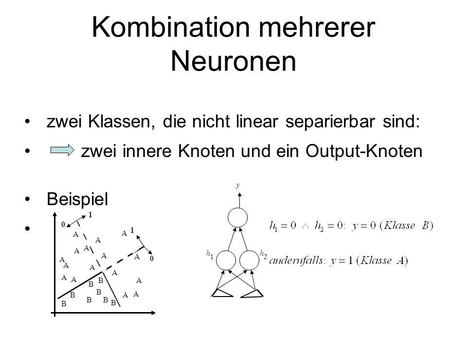 Kombination mehrerer Neuronen zwei Klassen, die nicht linear separierbar sind: zwei innere Knoten und ein Output-Knoten Beispiel y h 1 h 2 A A A A A A