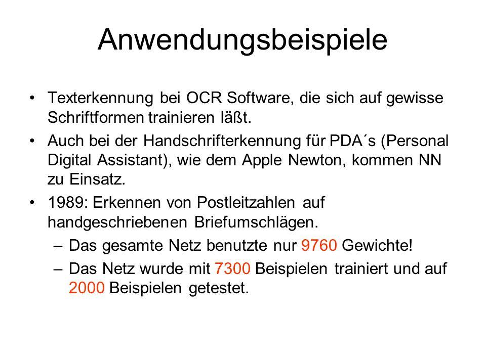 Anwendungsbeispiele Texterkennung bei OCR Software, die sich auf gewisse Schriftformen trainieren läßt. Auch bei der Handschrifterkennung für PDA´s (P