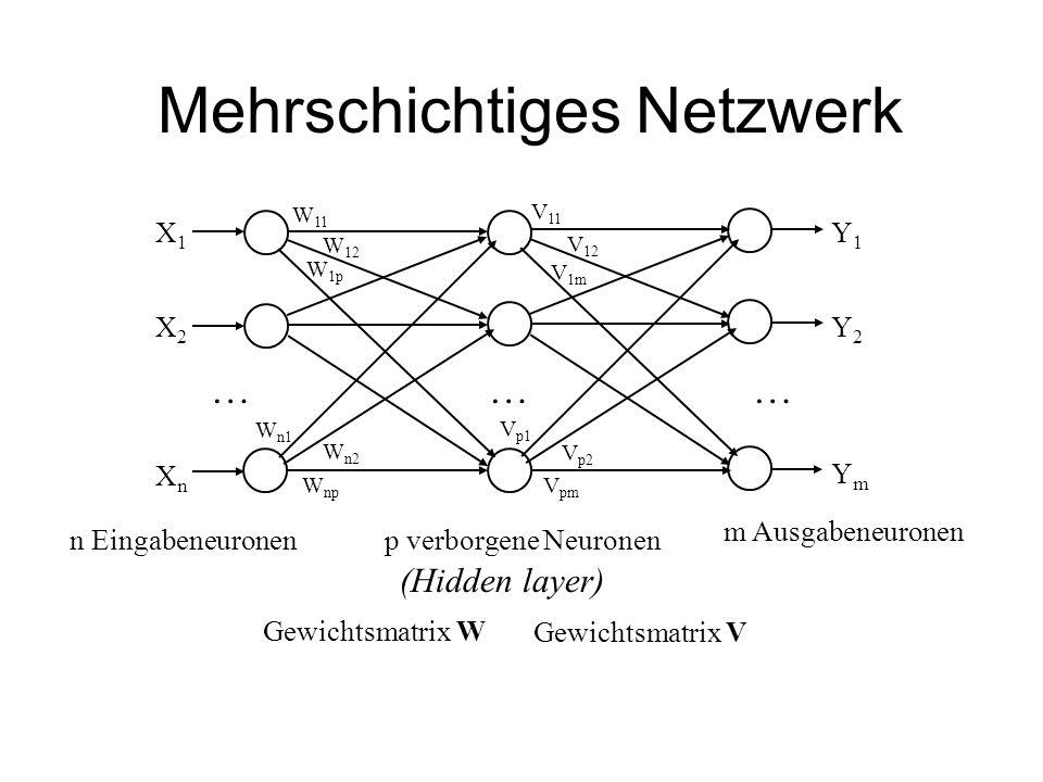 Mehrschichtiges Netzwerk n Eingabeneuronen X1X1 X2X2 … XnXn W 11 W 12 W 1p W n1 W n2 W np Y1Y1 Y2Y2 YmYm …… V 11 V 12 V 1m V p1 V p2 V pm m Ausgabeneu