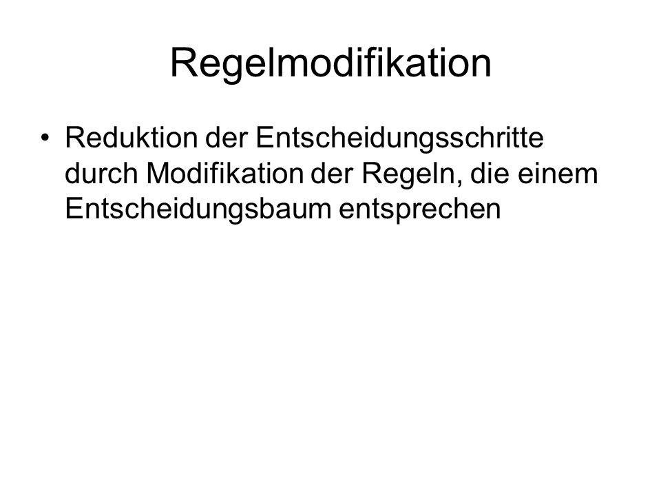 Regelmodifikation Reduktion der Entscheidungsschritte durch Modifikation der Regeln, die einem Entscheidungsbaum entsprechen