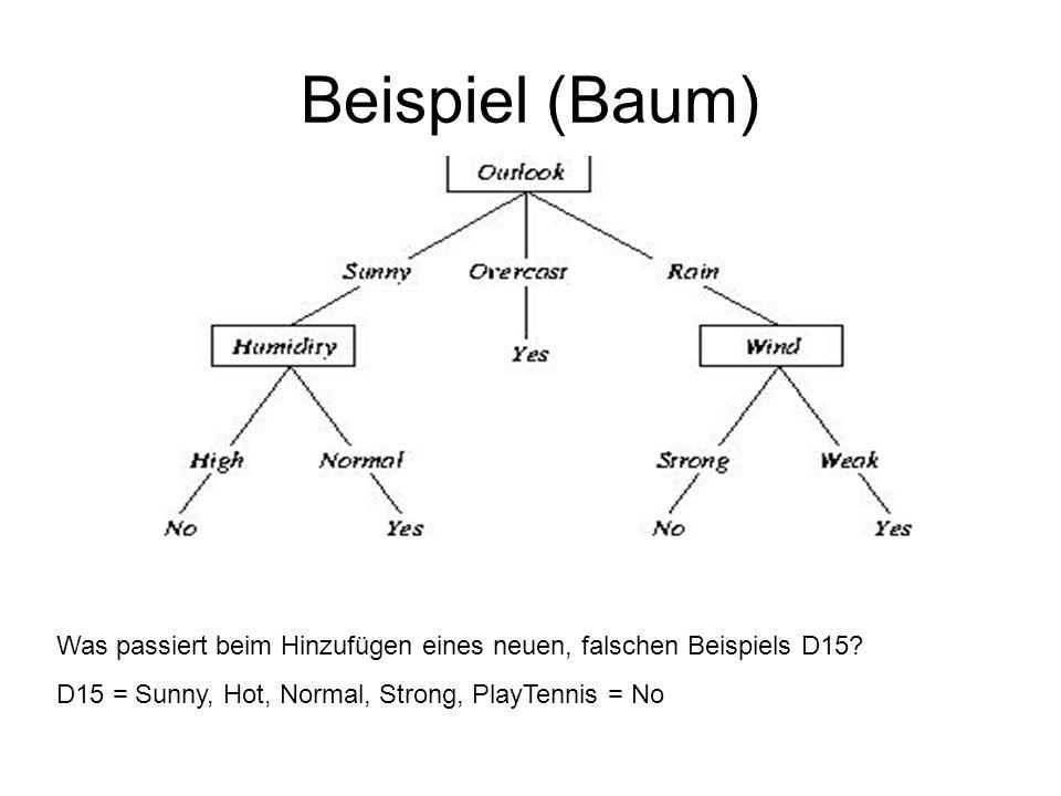 Regelgeneralisierung Vorteile: –Größere Flexibilität bei der Generalisierung: im Baum kann ein Knoten nur komplett oder gar nicht gelöscht werden, in der Regel ist partielles Löschen abhängig vom Kontext möglich –Keine Anordnung der Tests, d.h.
