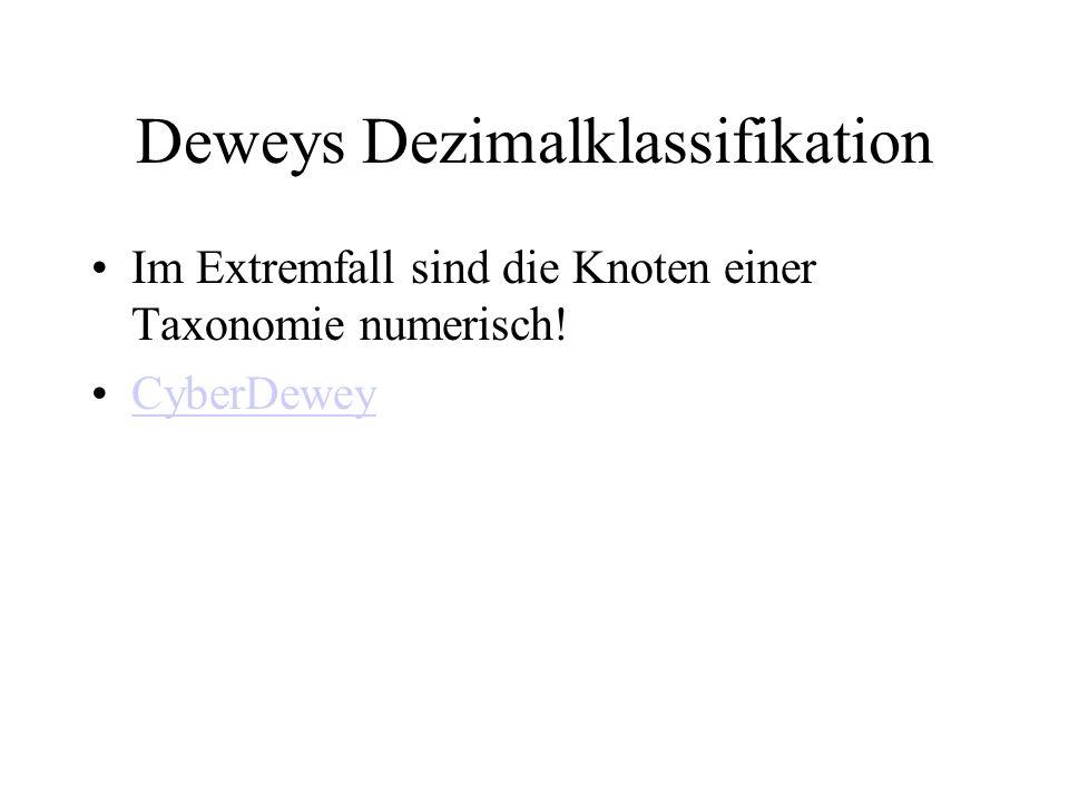 Deweys Dezimalklassifikation Im Extremfall sind die Knoten einer Taxonomie numerisch! CyberDewey