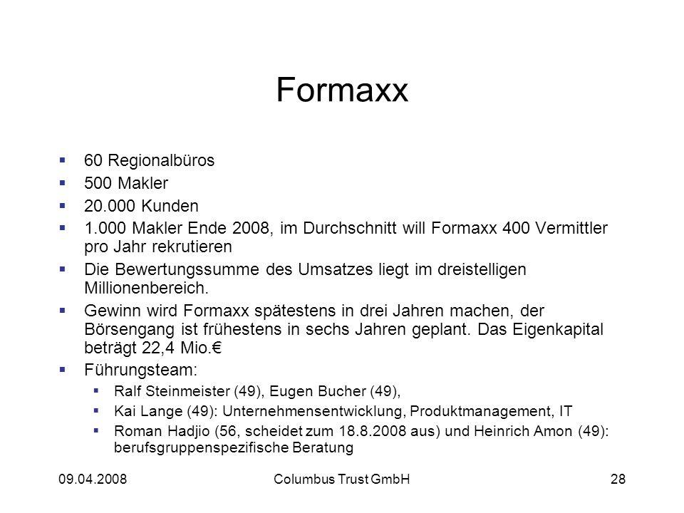 09.04.2008Columbus Trust GmbH28 Formaxx 60 Regionalbüros 500 Makler 20.000 Kunden 1.000 Makler Ende 2008, im Durchschnitt will Formaxx 400 Vermittler pro Jahr rekrutieren Die Bewertungssumme des Umsatzes liegt im dreistelligen Millionenbereich.